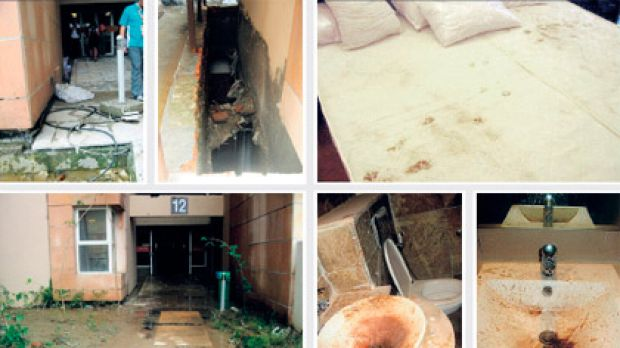 These images obtained by the BBC show the conditions inside rooms at the athletes village being used for the ...