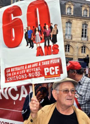 Mass protests ... in Bordeaux on Thursday.