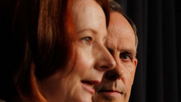 Julia Gillard with Bob Brown.