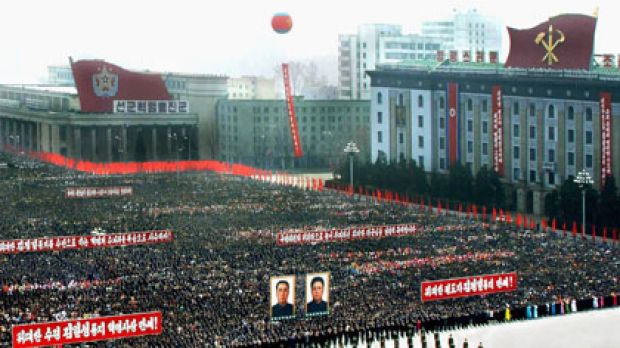 Communist rule ... North Koreans pack Kim il-sung Square last year after Kim Jong-il was re-elected.