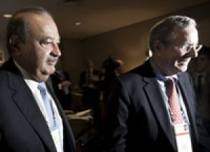 Carlos Slim (left) with Steve Forbes in Sydney.