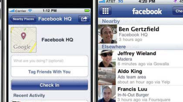 Screenshots showing what Facebook Places looks like on the mobile.