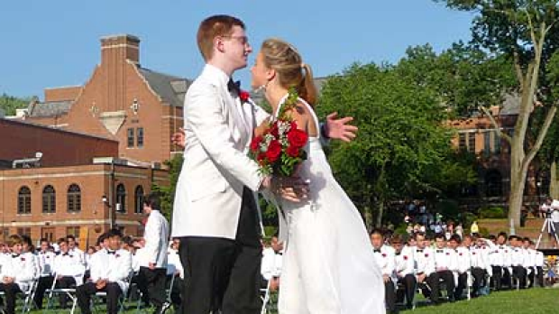 TylerClementi hugging a fellow student during his 2010 graduation from Ridgewood High School in June.