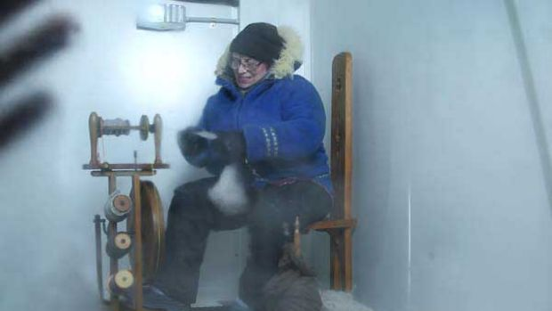 Marion Wheatland spins wool in a fridge in preparation for her Antarctic fundraising mission.