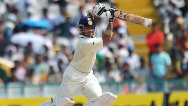 Style and substance ... India's master craftsman, Sachin Tendulkar, strokes a shot during play in the first Test against ...