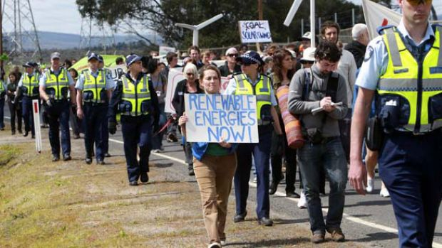 Some of the 250 police and estimated 200-300 green protesters at the Hazelwood power station near Morwell yesterday.