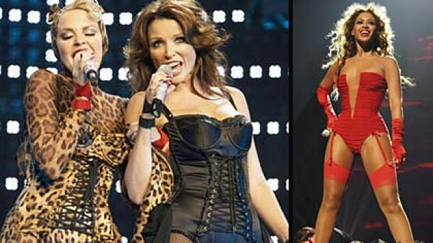 Even Kylie and Dannii Minogue are up on the dress code, and Beyonce has gone for raunch in a scarlet bodice and garter.