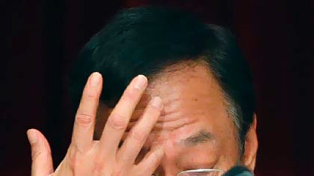 Terry Gou, founder of Taiwan's Hon Hai Precision Industry company, the mother company of Foxconn, gestures during a ...