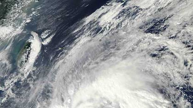 This NASA satellite image, taken and released on October 17, shows Typhoon Megi heading for land.