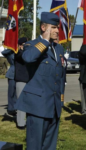Russell Williams salutes as he arrives at the Battle of Britain parade in Trenton, Ontario, in September last year.