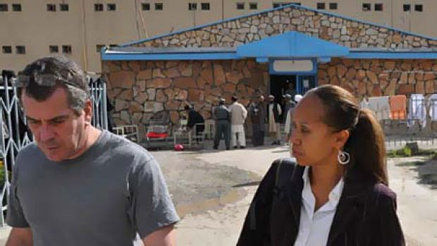 The defender and the accused: Kimberly Motley and Philip Young at Kabul's Pul-i-Charkhi prison.