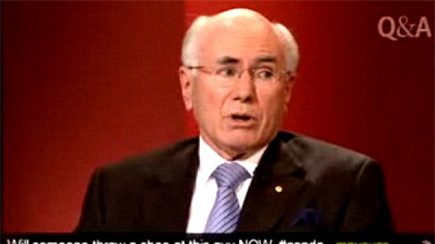 The tweet that appeared on Q&A just over a minute before a man threw his shoes at John Howard.