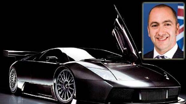 Making an impact  ... the Labor MP Robert Furolo and a Lamborghini Murcielago similar to the one he borrowed and then ...