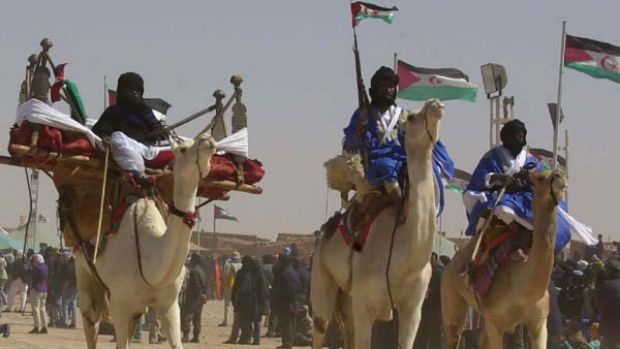 A camel division of the Polisario Front army of the Saharawis who were evicted from their land in Western Sahara in ...