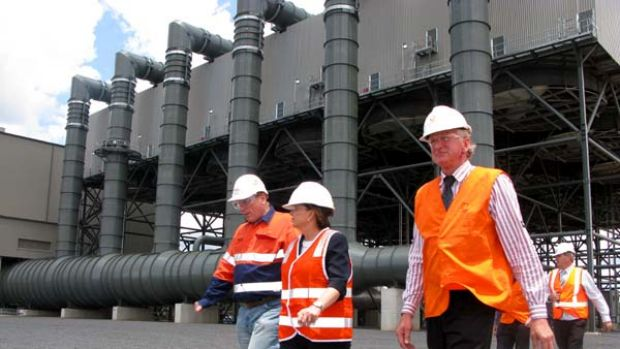 Premier Anna Bligh tours the new Darling Downs power station with plant manager Simon Ganley (left) and Shadow ...