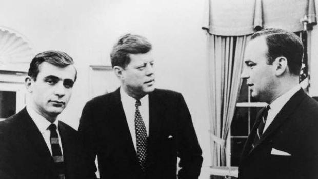 President John Kennedy, centre, with Rupert Murdoch, right, and the Daily Mirror editor, Zell Rabin, at the White House ...