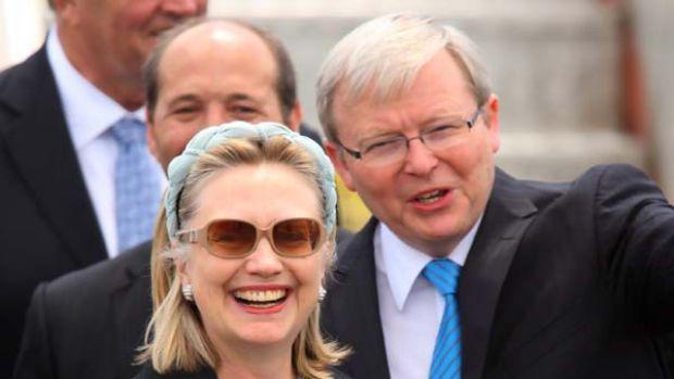 Prime gaffe... US Secretary of State Hillary Clinton is greeted by Foreign Affairs Minister Kevin Rudd before mistakenly ...