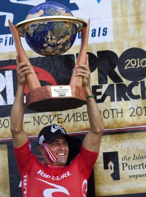 Kelly Slater after winning his record 10th ASP world surfing title in Puerto Rico.
