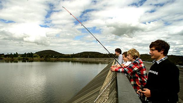 Local boys (from left) Sean Kennedy, Oscar Wiechmann, Brayden Knowles and Billy Jenkin fish at the brimming Sugarloaf ...