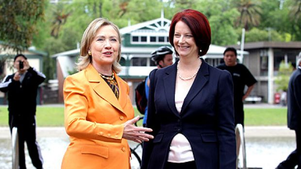 Time out: US Secretary of State Hillary Clinton and Prime Minister Julia Gillard take a moment between meetings for a ...