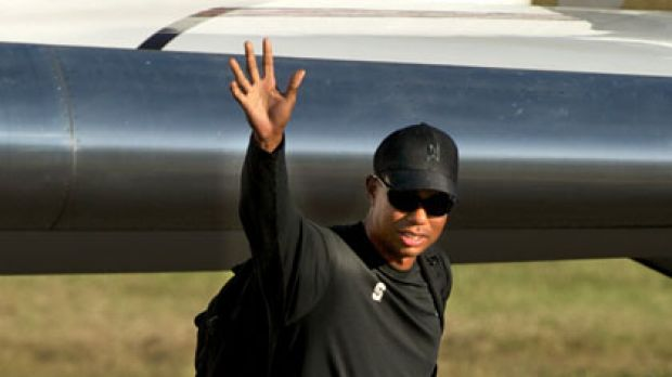Tiger Woods arrives at Essendon airport.