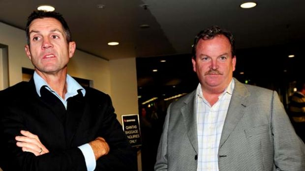 Canberra Raiders chief executive Don Furner (L) meets Joel Monaghan s managerJim Banaghan at Canberra airport  last night.