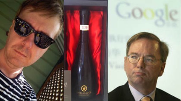 Cameron Collie, left, Google CEO Eric Schmidt, right, and, inset, a picture of the alcohol Collie purchased to celebrate ...