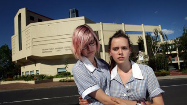 Hannah Williams (right) is not allowed to take her girlfriend, Savannah Supski, both 16, to the Ivanhoe Girls' Grammar ...