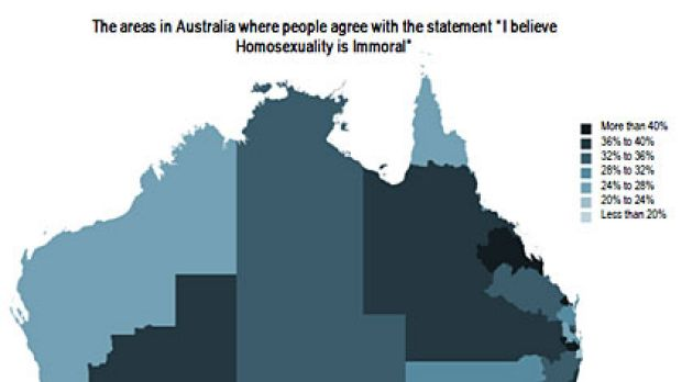 A map showing response rates to a survey on people who find homosexuality immoral. For the full results <a ...