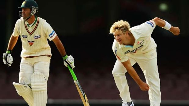 Shane Watson claimed five wickets for NSW including the wicket of Ricky Ponting (L).