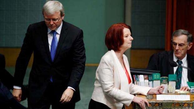 Kevin Rudd and Julia Gillard during question time last year.