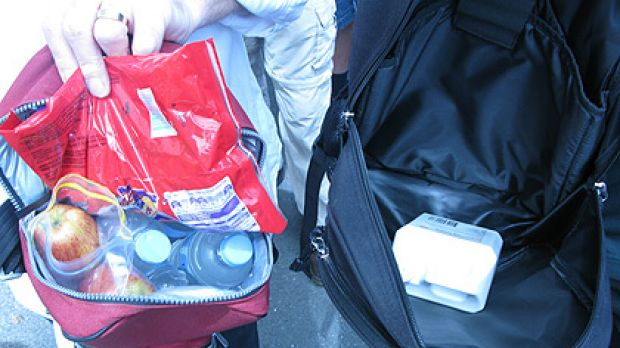 Ashes fans weren't allowed to take these bags into the Gabba, despite the fact they contained only fruit, water and ...