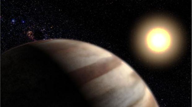 In 2001, NASA released this artist's impression of a planet orbiting the Sun-like star HD 209458, 150 light years from ...