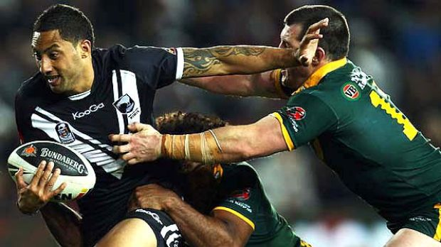 New Zealand captain Benji Marshall fends off his rivals during the Four Nations tournament.