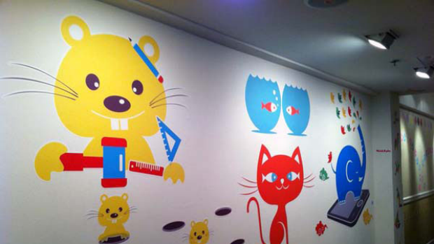 Examples of some of the wall graphics created by Lu's new company, Walls360.com.