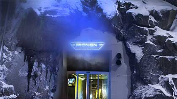 The entrance to the highly secure underground servers being used by WikiLeaks in Sweden.