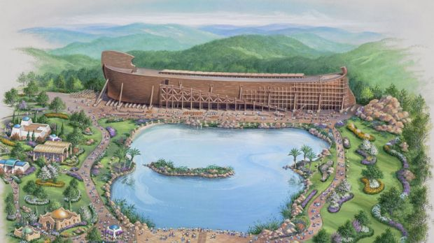 """An artist's rendering of the proposed theme park, complete with an """"authentically constructed"""" wooden ark loaded with ..."""