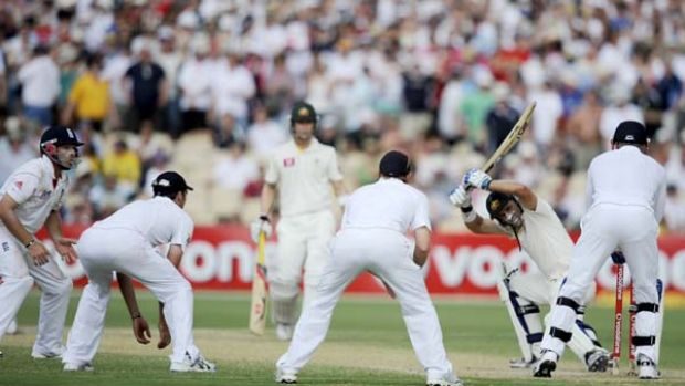 Testing times . . . Michael Hussey had to tread carefully yesterday as Andrew Strauss surrounded the Australian with ...