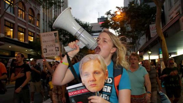 Kat Henderson makes her displeasure known as she joins supporters of Julian Assange, the Wikileaks founder, at a rally ...