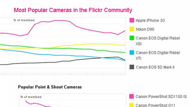 A Flickr graph showing the most popular camera models.