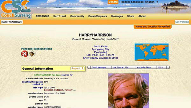 Assange's CouchSurfing.com profile.