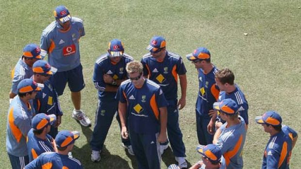 Steve Smith tells a joke ahead of training in Perth.