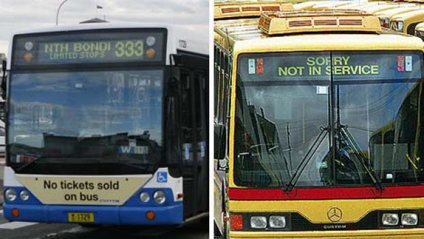 Spot the difference ...  commuters will find it hard to tell a government bus, left, from a  private one if they are all ...