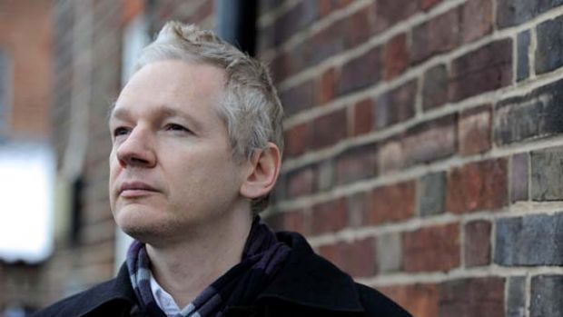 A murky situation ... Julian Assange outside a police station this week in Britain, where he is on bail.
