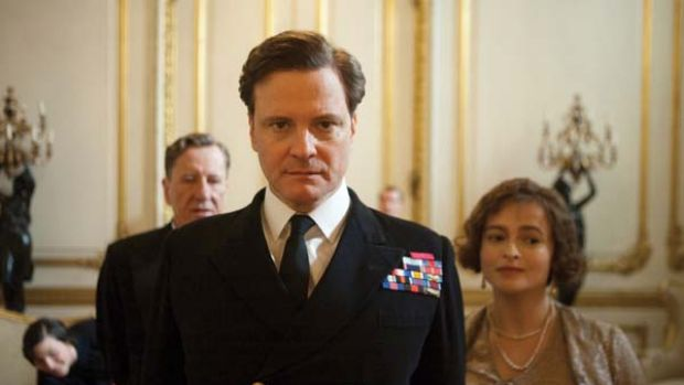 Big shoes to fill ... Geoffrey Rush, Colin Firth and Helena Bonham Carter in <i>The King's Speech</i>.