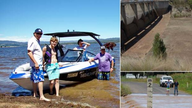 To the brim ...  Lake Burrendong  attracted Paul, Xavier and Eugene Dunn and Michael Tegart, all waterskiers, yesterday. ...