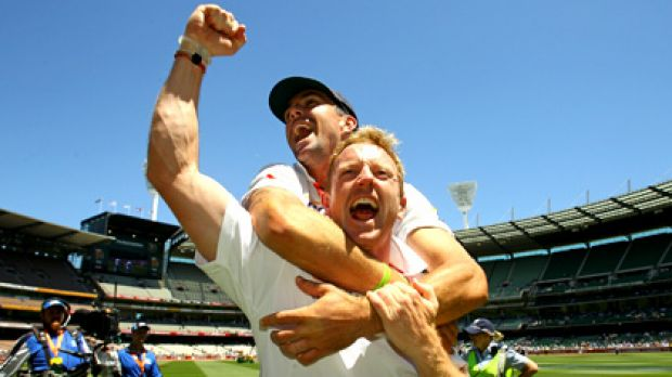 Paul Collingwood and Kevin Pietersen savour the moment.