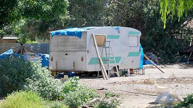 The caravan on the family's Inglewood property, where they have been squatting since their house was demolished.
