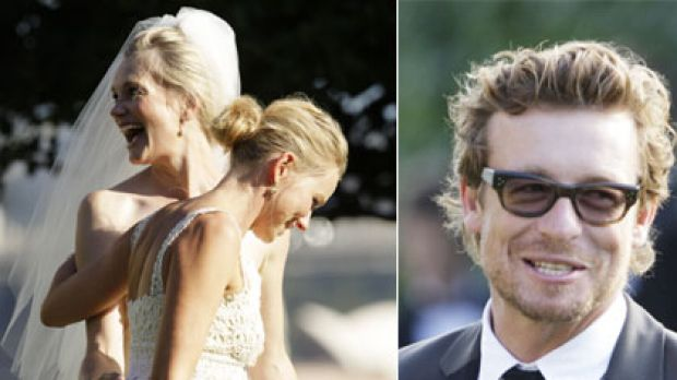 Here come the guests ... Naomi Watts, above, played the dutiful bridesmaid to Emma Cooper, while actor Simon Baker was ...
