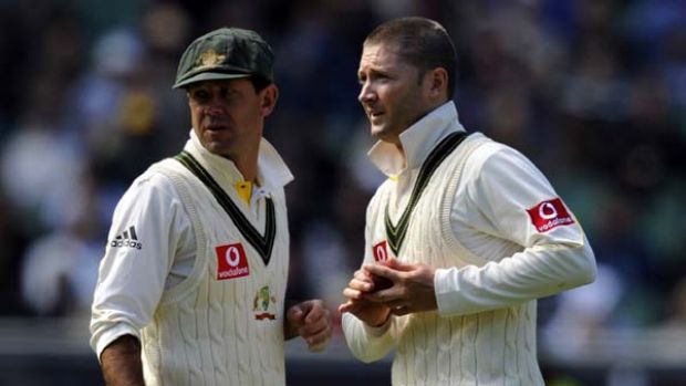 Ricky Pontingwith his successor Michael Clarke.